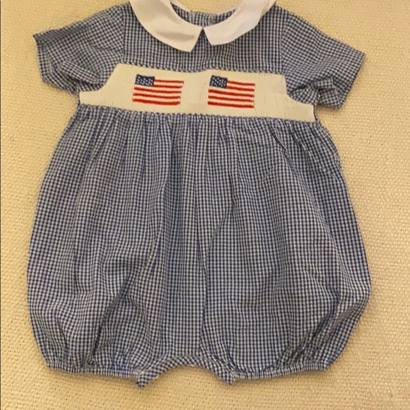 Other - Flag Smocked Blue/White Checked Bubble Size 12m